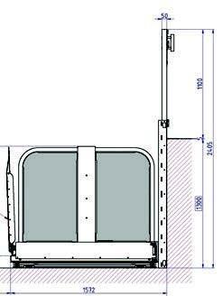 Rolstoellift LF1300 Tekening 1 zijaanzicht