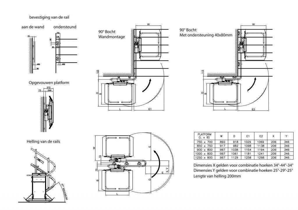 Plateautraplift voor trappen met bochten of tussenbordes tekening